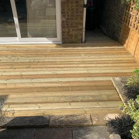 decking by a patio