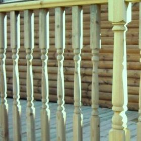 hand rail turned profile system for decking